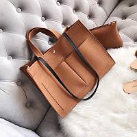 Женская стильная сумка , клатч, 2 в1, комплект, набор,клатч, черный, коричневый, серый