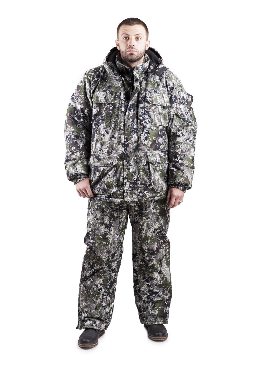 Зимний костюм для охоты и рыбалки Пиксель, непродуваемый, тёплый и надежный, все размеры 48-50