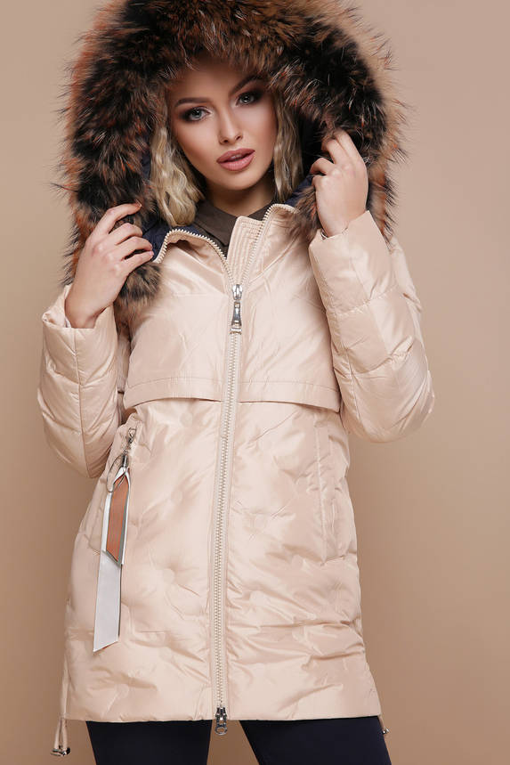 Женская зимняя куртка на холлофайбере бежевая, фото 2