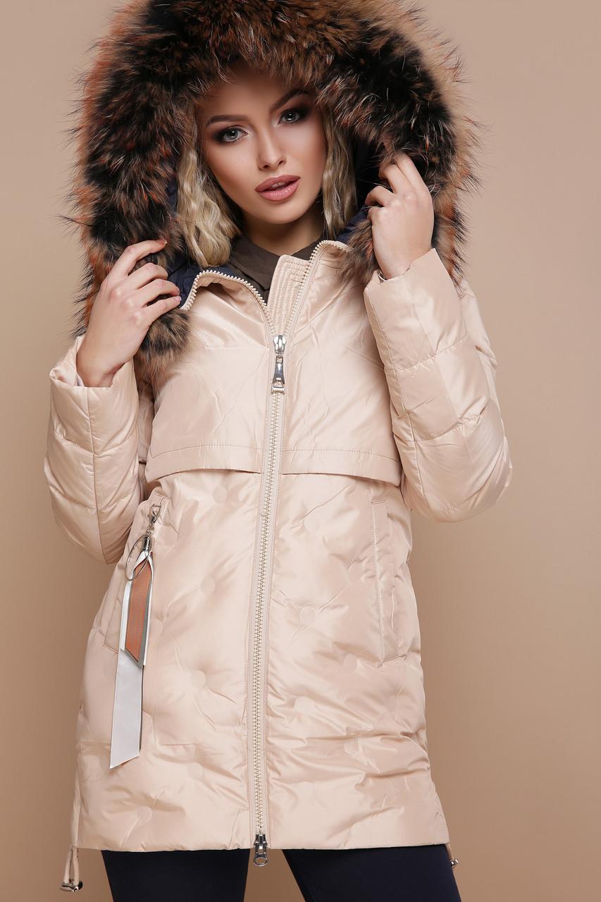 Женская зимняя куртка на холлофайбере бежевая