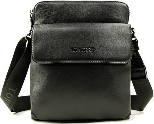 Кожаная, повседневная, мужская сумка на плечо Тоfionno 07906-5 черная