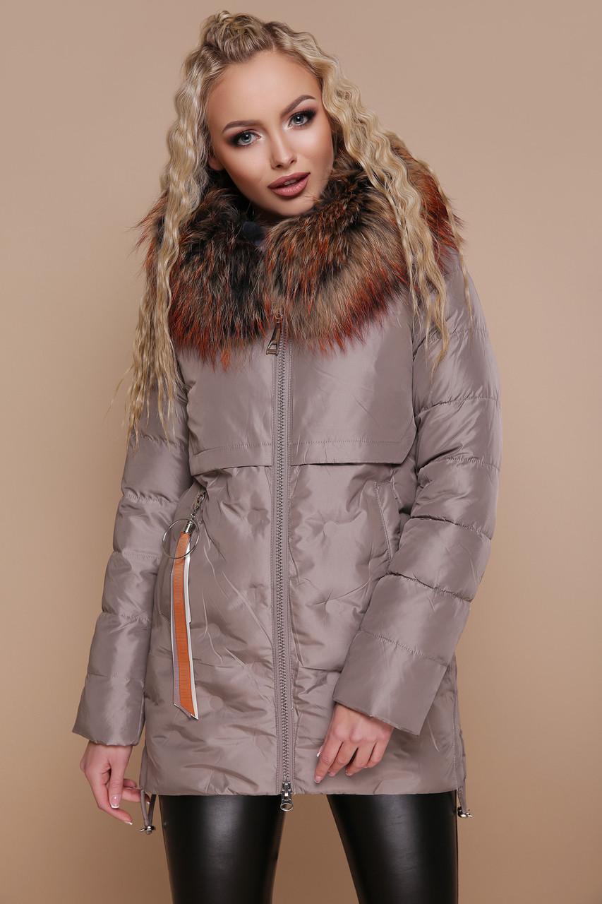 Женская зимняя куртка на холлофайбере коричневая