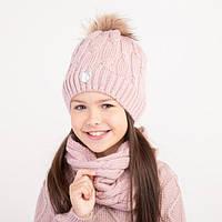 Вязаный комплект(шапка+снуд) для девочки