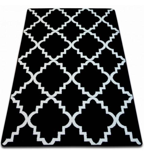 Ковер SKETCH 80x150 см - F343 белый черный Марокканский узор