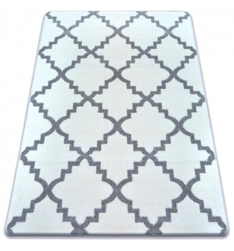 Ковер SKETCH 80x150 см - F343 серый белый Марокканский узор