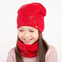 Комплект вязанные шапка и снуд (хомут) для девочки