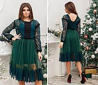 Женское платье с кружевом и сеткой, миди