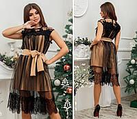 Женское платье с кружевом и сеткой, размер 42-46