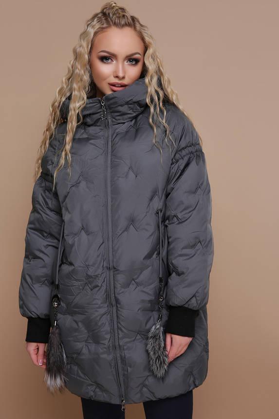 Куртка женская зимняя с капюшоном оверсайз, фото 2