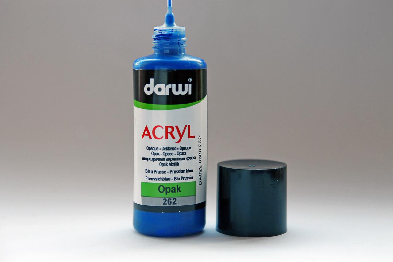 Акриловая матовая краска Darwi, для декоративных работ, объем 80мл, Прусский синий 262