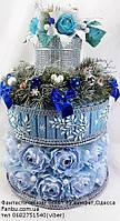 """Новогодний конфетный подарок-торт """"Голубая мечта"""""""