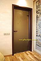 Стеклянные межкомнатные двери из шпона