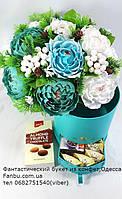 """Зимний букет из конфет в коробочке с сюрпризом""""Голубой огонек""""№15"""