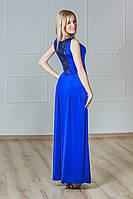 Платье в пол с гипюром синее, фото 1