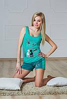 Пижама с шортиками мята
