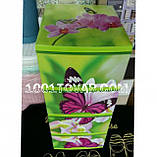 """Комод пластиковый, с рисунком """"Бабочка и орхидея"""" + рисунок на крышке, на 4 ящика, под заказ, фото 3"""