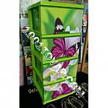"""Комод пластиковый, с рисунком """"Бабочка и орхидея"""" + рисунок на крышке, на 4 ящика, под заказ, фото 2"""