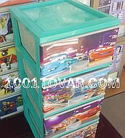 """Комод пластиковый, с рисунком """"Тачки Маквин"""", 4 ящика. Под заказ."""