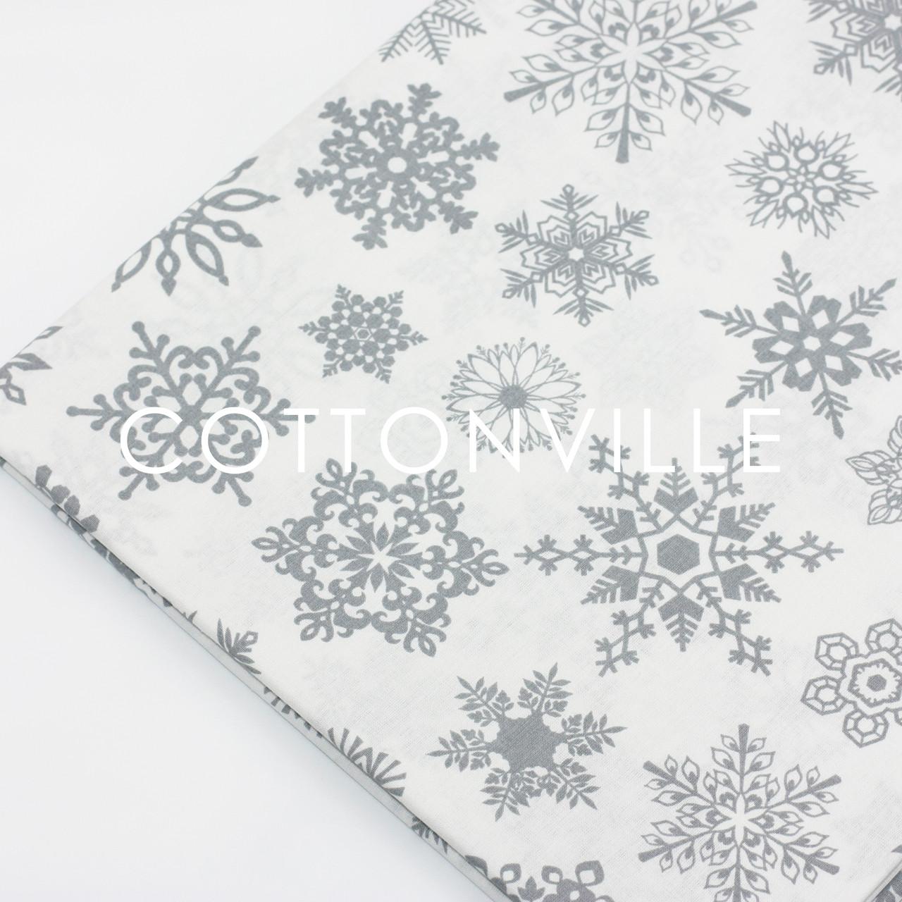 Ранфорс 240 см Снежинки серые на белом (остаток 250 см )
