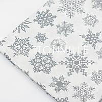 Ранфорс 240 см Снежинки серые на белом (остаток 250 см ), фото 1