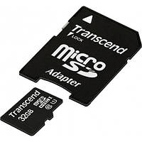 Карта памяти Transcend microSD 32GB UHS-I с SD