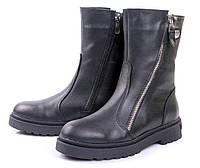 Ботинки женские зимние из натуральной кожи, на танкетке, черные. Размеры 36, 37, 38, 39, 40. Viscala 27840/01.