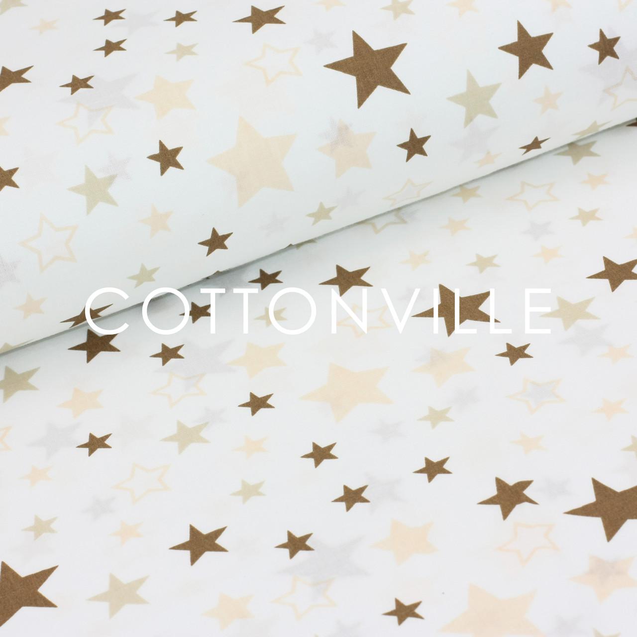 Поплин Звездопад коричневый на белом