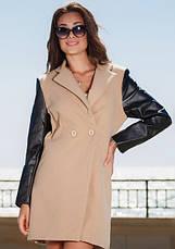 Женское комбинированное пальто с рукавами экокожа, фото 3