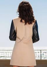 Женское комбинированное пальто с рукавами экокожа, фото 2