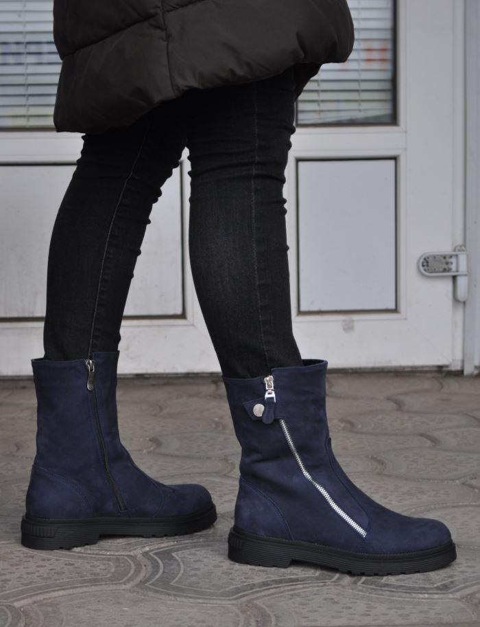 b835739cfb79 Женские зимние ботинки из натурального нубука, на танкетке, синие. Размеры  36, 37