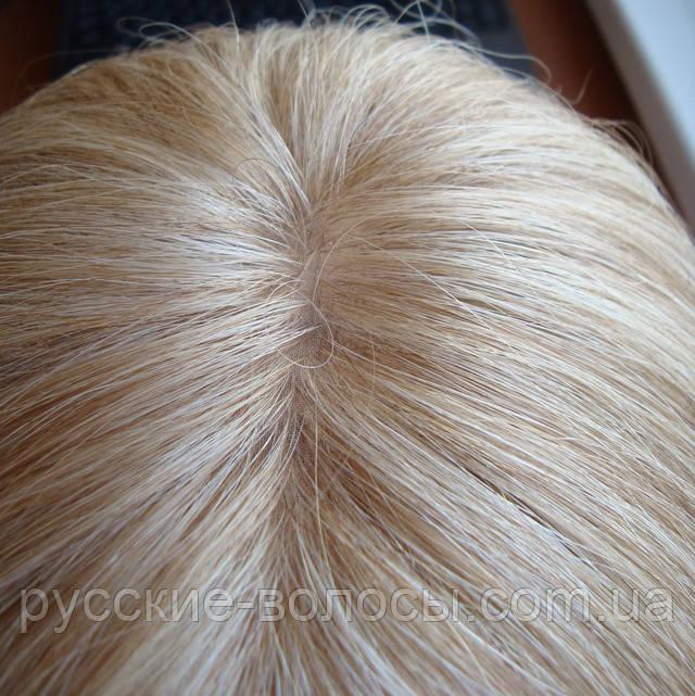Натуральный парик с имитацией кожи головы.