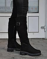 Женские зимние сапоги из натуральной кожи - нубука, на меху, черные. Размеры 36, 37, 38, 39, 40. Viscala 49935