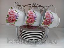 Набор чайных чашек с блюдцем металлической подставке 6 шт.