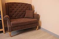 Не большой диван с деревянным каркасом в прихожую (Коричневый)