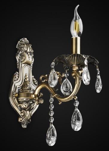 Бра хрустальное свеча цвет античная бронза AR-004574 на 1 лампу