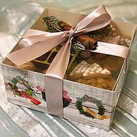 """Коробка для десертів  160*160*80 з прозорою кришкою ПВХ """"Новорічна"""" (БЕЗ ВСТАВКИ)"""