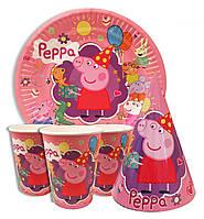"""Набор для детского дня рождения """"Свинка Пеппа"""". Тарелки, стаканчики и колпачки по 10шт."""