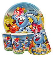 """Набор для детского дня рождения """"Смешарики"""". Тарелки, стаканчики и колпачки по 10шт."""