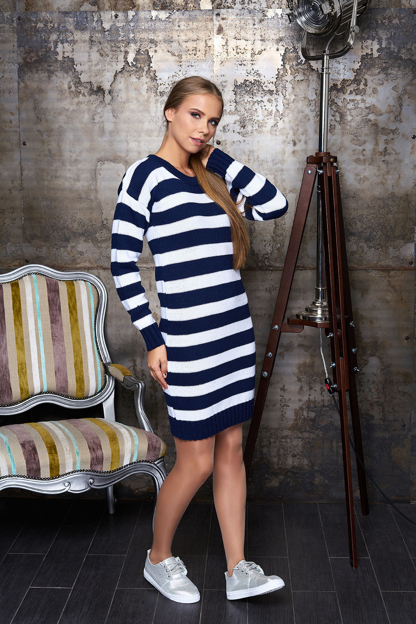 """Платье """"Лиза"""" (полоса т/синяя)(размер 44,46,48)"""