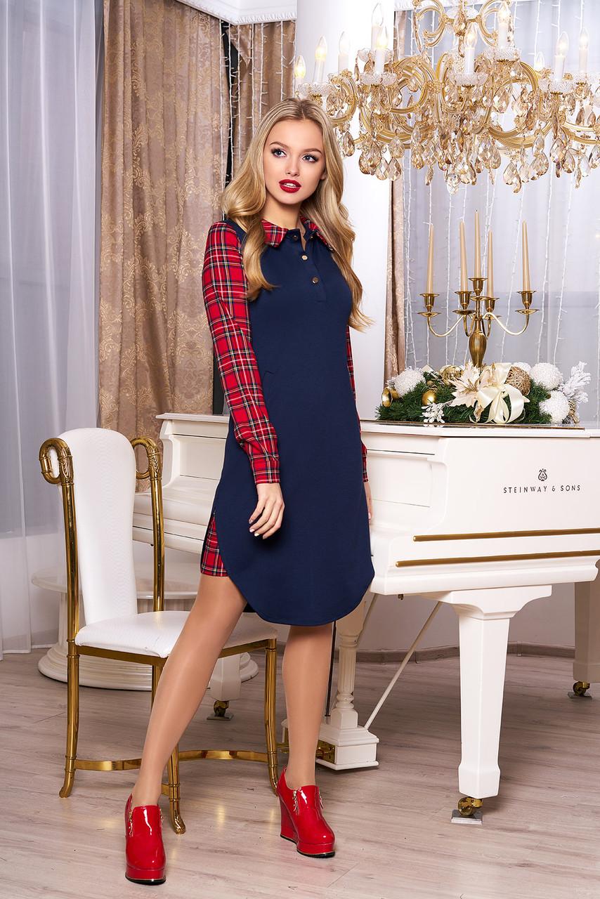 """Платье """"А-72"""" (т/синий)(размеры 44-54)"""