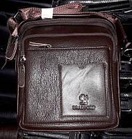 13f1c0ca5af7 Мужская сумка Bradford 8919-2 коричневая на три отдела из искусственной  кожи с плечевым ремнем