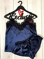 Темно синяя атласная пижама женская с черным кружевом