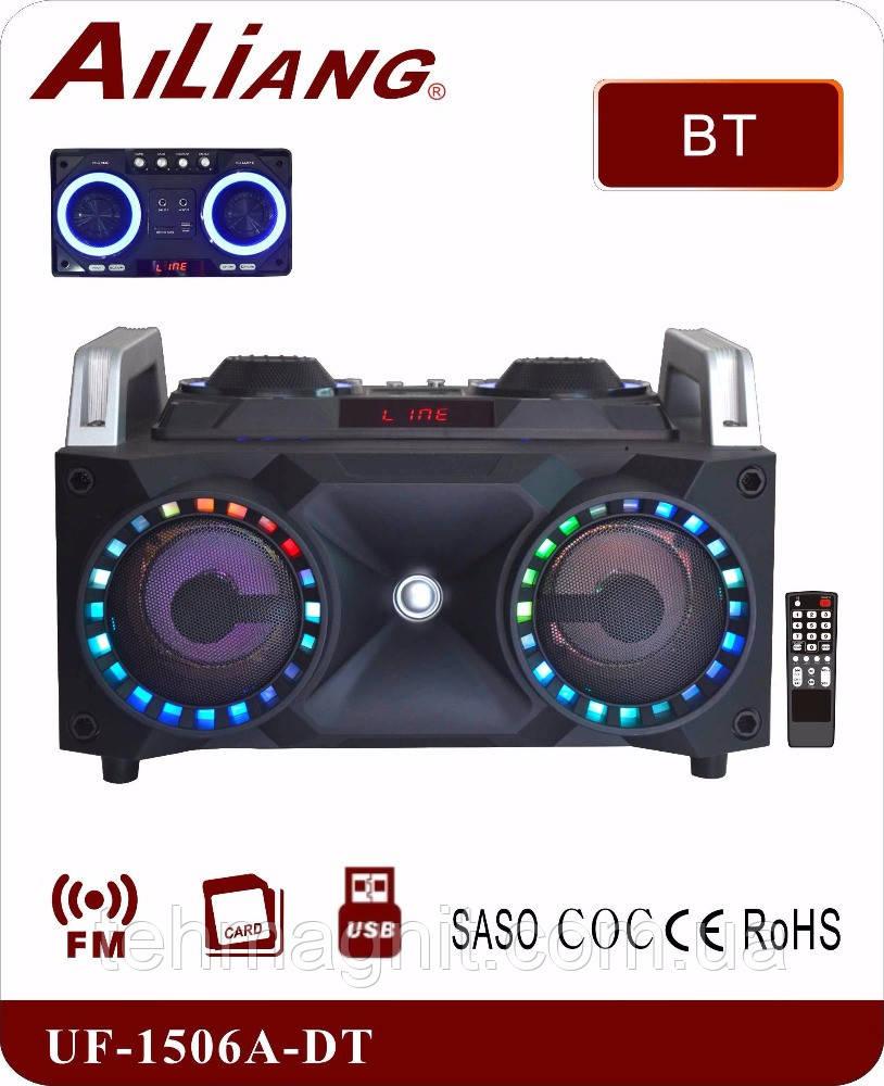 Портативный бумбокс караоке Ailiang UF-1506A-DT сабвуфер USB\ Bluetooth\ FM-тюнер\ Пульт ДУ (Реплика)