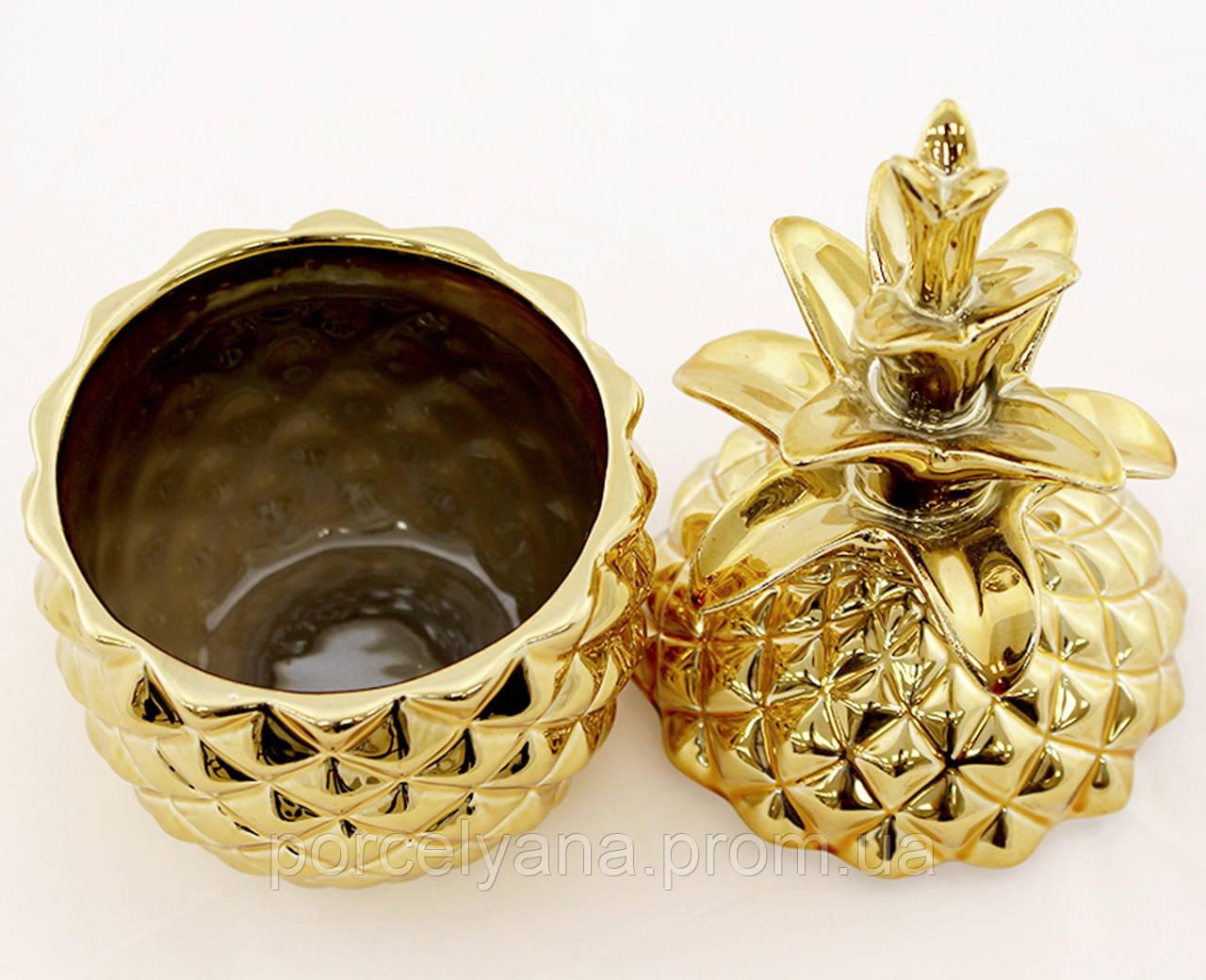 Шкатулка Ананас с крышкой золотой 19 см Artpol