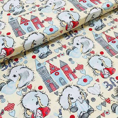 Ткань польская хлопковая, Бэйби слоник с красными и серыми башнями на бежевом