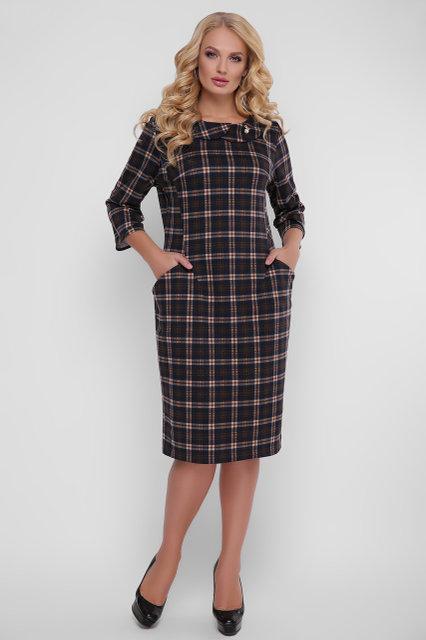94cc86bfc58 Трикотажное женское платье Мэри серое клетка - Wellness-sistem - интернет  магазин одежды и обуви