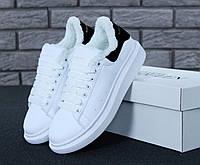 Кроссовки с мехом Alexander McQueen White Black, фото 1