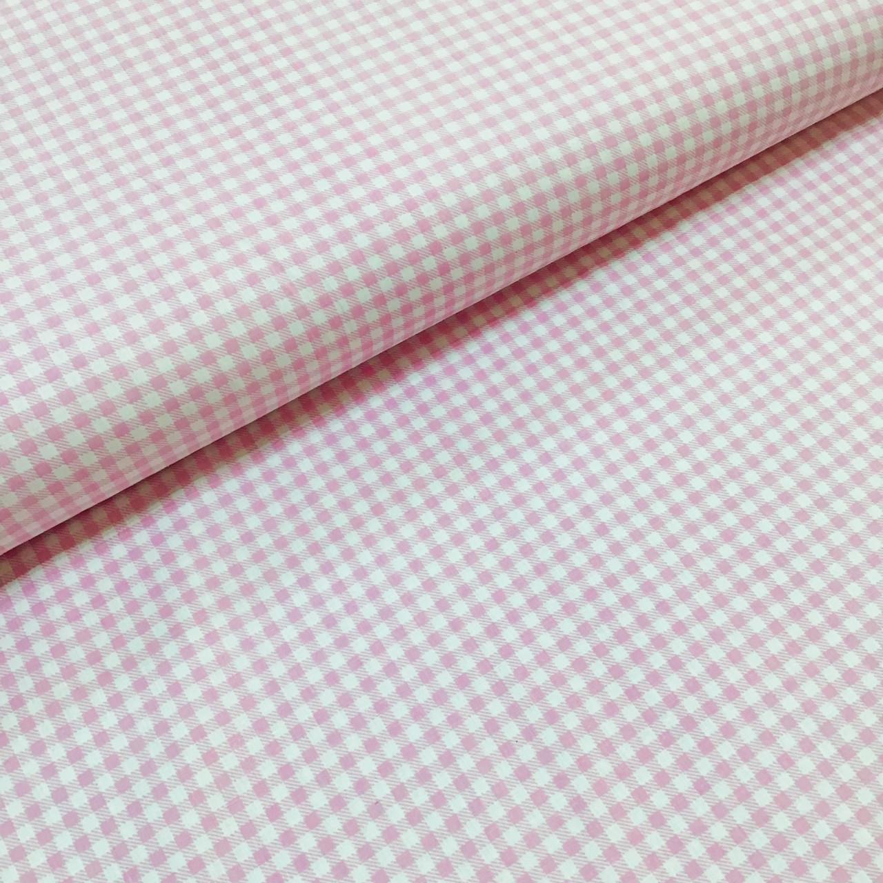 Тканина польська бавовняна, дрібна рожева клітка на білому