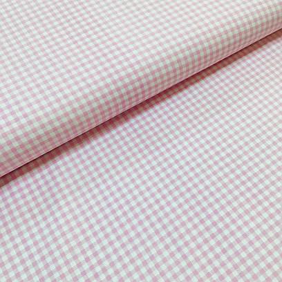 Ткань польская хлопковая, мелкая розовая клетка на белом