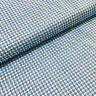 Ткань польская хлопковая, мелкая голубая клетка на белом